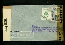 Postal History Argentina #510+536 Airmail WWII Dual Censored 1943 Buenos Aires