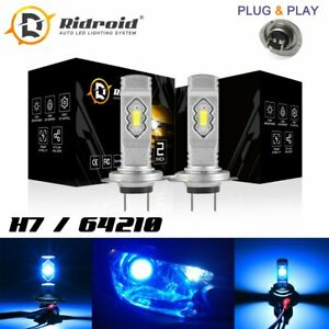 H7 8000K Ice Blue 8000LM CREE LED Headlight Bulbs Kit High Low Beam Fog Light