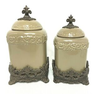 2 Piece Drake Design Taupe Tuscan Scroll Canisters Ceramic Resin Base