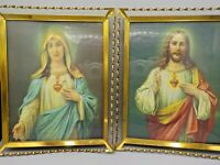 Vintage Jesus & Mary Sacred Hearts Pictures 3D Brass Art Deco Frames Chromolitho