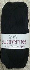 Wendy Supreme Luxury Cotton Knitting Yarn 100g Black 1833