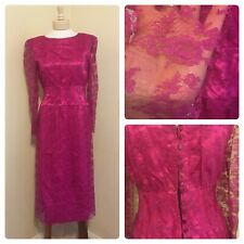 Vtg 1960s 1970's Fuchsia Pink Lace Overlay Cocktail Dress! Buttons Handmade M