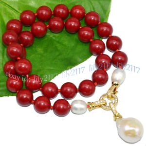 12mm Red Coral & Natural White Keshi Baroque Pearl Drop Pendant Necklace 16-28''
