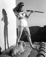 ACTRESS DONA DRAKE WITH RIFLE AND DOG - 8X10 PHOTO (BB-167)
