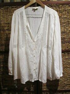 womens THE POETIC GYPSY Bridget crochet blouse boho top SZ 18