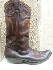 Santiag MEXICANA Boots en cuir marron motif Buffle 41/42 ( 8-8.5 )
