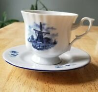 Ter Steege BV Delft Hand Decorated Windmill Tea Cup & Saucer Holland