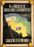 ESPERANTO CONGRESS SARAJEVO YUGOSLAVIA 1955 ORIGINAL VINTAGE POSTER JUGOSLAVIJA