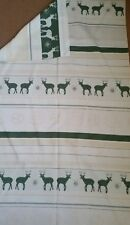 "Green ivory linen blend fabric remnant 68x115 cm (27""x46"") stag deer xmas winter"