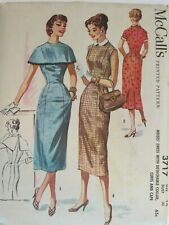 Swanky VTG 56 McCALLS 3717 Dress w Detached Collar Cuffs & Cape PATTERN 14/34B