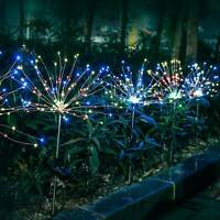 90LED Garden Path Lights Solar Power Firework Lamp Starburst Stake Outdoor