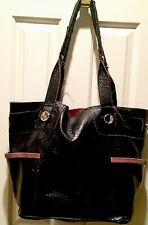 Huge B Makowsky Glossy Leath/Suede Black/Pink Open Shou Bag Purse Tote Satc 💼