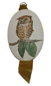 Vintage Wall Hanging White Owl Plaques Plaster With Ribbon Sparkle