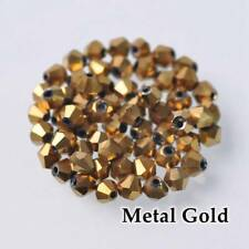 200pcs 3mm Bicone Faceted Crystal Glass Loose Spacer Beads Gold  Plated