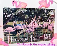 FLAMINGO TRAILER PARK tin SIGN pink glamping Vintage caravan camper retro art
