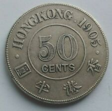 China HongKong 1905 50 cents silver coin