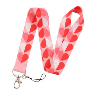 1PC Heart Printed Polyester Neck Strap Lanyard ID Card Phone Keychain Holder
