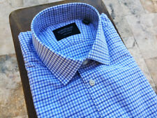 $100 Nordstrom Mens Shop Extra Trim Fit Dress Shirt Long Sleeve Check Blue15 32