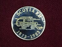 VINTAGE PIN PINBACK SCOTIA FD 1873-1983 FIRE DEPARTMENT