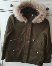 ZARA KHAKI WATER RESISTANT PARKA  JACKET COAT WITH BEIGE FAUX FUR HOOD SIZE S