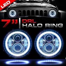 7 Inch Round LED Chrome Headlights Halo Angle Eyes For 97-2017 Wrangler JK LJ TJ