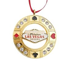 Las Vegas Sign Metal Hanging Christmas Ornament Holiday Rhinestone Gold Heart