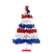 4th of July Tinsel Trees Classic Tinsel Feather Tree Red, White, & Blue 48''