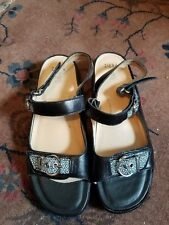 Ziera Women's Fos Leather Strappy Sandals  Black and White Sz 41W