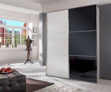 """Schwebetürenschrank """"Rubino Small"""" Türen Weiß Schwarze Glasfront  200x236x65cm"""