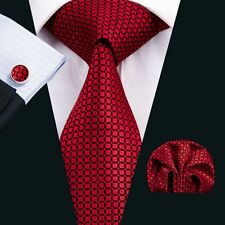 SN-1573 Plaids&Checks Red Classic Mens Tie Silk Necktie Hanky Cufflinks Business