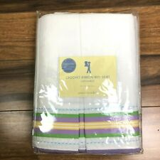 New Pottery Barn Kids Crochet Ribbon Bed Skirt Full Purple Green Yellow White