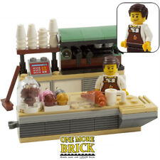 Lego café & figurine-cafe, food shop, boulangerie barista-custom modèle