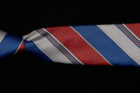 DUNHILL Tie, Wine Red Navy Steel Gray Fancy Striped Silk ITALY