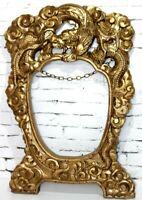"VintageChinese Ornate Hand Carved Gilt Picture Frame 28"" H [3776]"