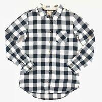 Cat & Jack Button Front Shirt Girl's Size XL 14-16 Black White Kids Plaid LS