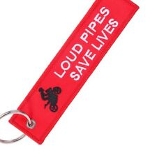 MOTORCYCLE KEYRING (LOUD PIPES SAVE LIVES).RED,WHITE AND BLACK