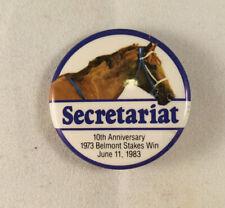 Secretariat 10th Anniversary Belmont Stakes win pin pinback button, Triple Crown
