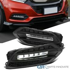 For 19-20 Honda HR-V HRV SMD LED Fog Bumper Lights Pair+Matte Black Bezel+Switch