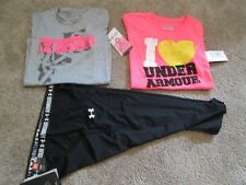 NEW Girls UNDER ARMOUR 3pc OUTFIT Black Capri UPF 30+2 GRAPHICTOPS YXL FREE SHIP