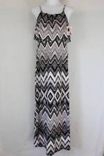 NWT Womens Maxi Dress Small Black White Long Layered Spaghetti Strap Silky