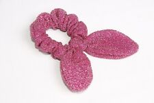 Glittery Pink Metallic Shimmer Girly Hair Scrunchy W Structured Wire Ties (s140)