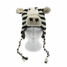 Divertido cebra hecho a mano invierno animal de lana gorro. forro polar ,