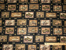 US Army Military Salute Tank Aircraft Pictures Fabric by the 1/2 Yard  #1324