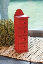 "DISTRESSED RED 4 DRAWER SPICE CABINET STORAGE ORGANIZER 10 1/4"" TALL"