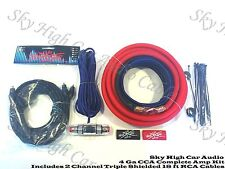 Oversized 4 Ga AWG Amp Kit Triple Shield RCA Red Black Complete Sky High Car