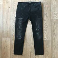 Roberto Cavalli Jeans Distressed Black Skinny Fit 29w 26l Made In Italy Denim