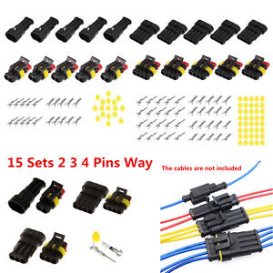 15 Sets 2 3 4 Pins Way Sealed Waterproof Auto Car Electrical Wire Connector Plug