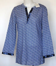 NWT NEW Dalia Blue & White Print Boho L/S Tunic Top Blouse  S Small