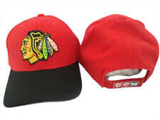 New Chicago Blackhawks CCM Red Black Brim Adjustable Hat