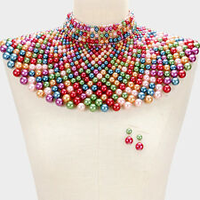 Large Choker Bib Shoulder Armor Multi Color Pearl Bead Necklace Earrings Red Set